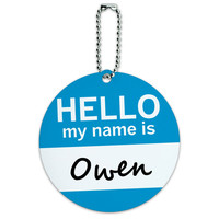 Owen Hello My Name Is Round ID Card Luggage Tag
