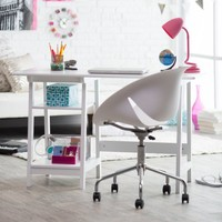 Manhattan Open Computer Desk with Adjustable Shelf - White | www.hayneedle.com