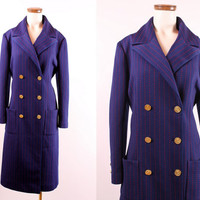 Vintage 60s - Blue & Red Stripe - Nautical Sailor Style Mod Pea Coat - Gold Anchor Buttons - Min Length Jacket