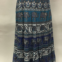 Long Indian Wrap Skirt in Cotton with Elephant and Camel Vintage Print -Blue & White