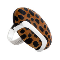 GISELLA (2): Contemporary Silver and Leopard Design Statement Ring