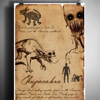 Chupacabra cryptid art, urban legend bestiary cryptozoology science journal art, monsters and folklore,