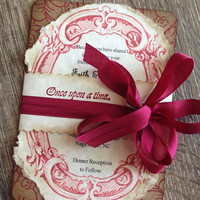 Fairy tale wedding invitation-Romantic Wedding Invitation- Vintage Invitation -Rustic wedding-Red Wedding Invitation