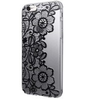 Newest fashion Clear Black Lace Floral Flower Plastic Hard Case Cover for iPhone 6S 4.7inch Free Shipping rain