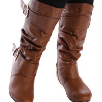 New DIVA Lounge Fashion Mid-Calf Round Toe Flat Slouch Boots Brown 5.5