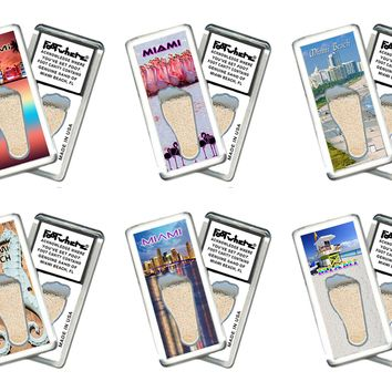 Miami FootWhere® Souvenir Fridge Magnets. 6 Piece Set. Made in USA