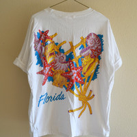 Florida Seashell Pocket Tee White Oversized Vintage 90s XL