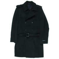 Nautica Mens Wool Double-Breasted Trench Coat
