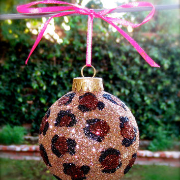 Cheetah print glitter ornament