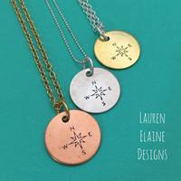 Compass Necklace- Hand Stamped Copper, Brass, or Aluminum Charm- You Choose Chain- Travel, Traveler, Wanderlust Necklace