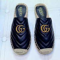 GUCCI Classic Retro Women Casual Leather Slippers Mules Shoes Black