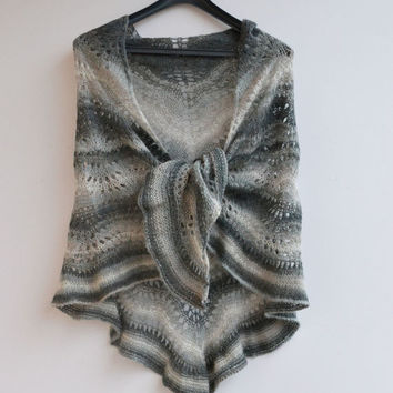 Knitted shawl mohair silk, Wedding shawl, gray Shawl, knit shawl, wool Wrap, knitted accessory, knit scarf, Knitted wool, Shawl Wrap
