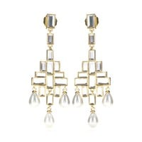 isharya - prism mirror chandelier pearl earrings