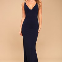 Melora Navy Blue Sleeveless Maxi Dress