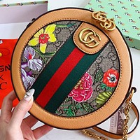 GUCCI New fashion stripe floral more letter leather round shoulder bag crossbody bag Brown