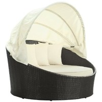 LexMod Siesta Outdoor Wicker Patio Canopy Bed in Espresso with White Cushions: Patio, Lawn & Garden