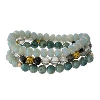 Stacked Bracelets Set (Green and Grey)