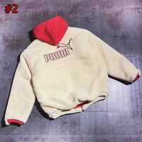 PUMA winter new color matching back embroidery letters couple models hooded cotton clothes #2