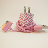 IPhone Charger ZigZag PinkColored USB Cables Wall by PersonalPower