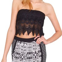 Vacation Tube Top - Black Lace