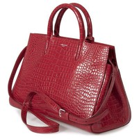 ONETOW Yves Saint Laurent Small Cabas Rive Gauche Bag in Red Crocodile Embossed Leather