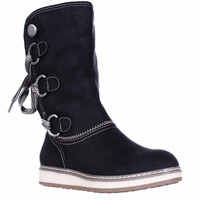 White Mountain Tivia Faux Shearling Lined Winter Boots, Black, 5.5 US