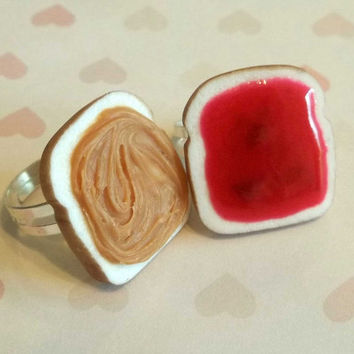strawberry peanut butter and jelly best friend rings bff polymer clay