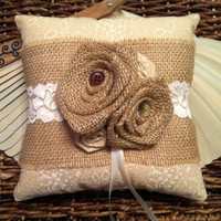 Beige Burlap Wedding Ring Bearer Pillow/Burlap Ring Pillow