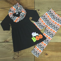 "Halloween Ghost ""BOO"" Aztec with Pumpkins Outfit"