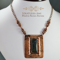 Stone labradorite in the copper metal plate, chainmaille, necklace of the metal sheet, necklace with the stone, pendant labradorite