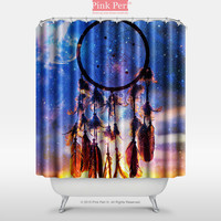 Dream catcher and Sunset Clouds with Galaxy Nebula Shower Curtain Home 061