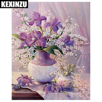 5D Diamond Painting Lavender Iris Bouquet Kit