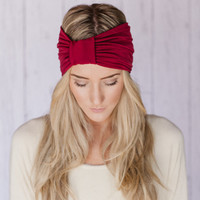 Red Wide Headband the Sparrow Headband Wide Stretchy Jersey Hair Band Ruched with Fabric Wrap in Cranberry Maroon Red