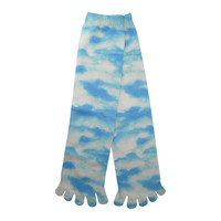 Clouds Toe Mid Calf Socks in White and Sky Blue