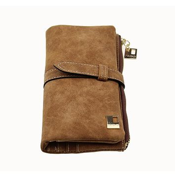 Famous Brand Long Purse Two Fold Women Wallets Drawstring Nubuck Leather Zipper Suede Wallet Ladies Carteira Feminina Clutch Bag by Inland Leather