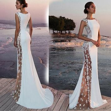 Dress women for wedding Summer Solid Formal Lace hollow out Sexy party dress Vintage Ball Prom Long Maxi Dress vestidos