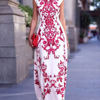 Fashion Flowers Printed White Sleeveless High-waisted  Gown Evening Maxi Dress