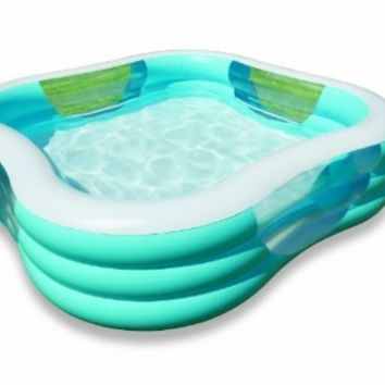 """Intex Swim Center Family Inflatable Pool, 90"""" X 90"""" X 22"""", for Ages 6+, Color may vary"""