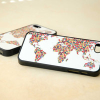 Phone Cases, Covers, iPhone, Samsung, Two Matching World Map of Flags Phone Cases