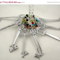 Kingdom Hearts Keyblade inspired wine glass charms set of 8 video game charms handmade wine charms party wine charms