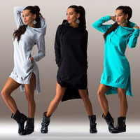 New Fashion Spring Sexy Women Casual Dress Vintage Elegant  Long Sleeve Hooded Pockets Irregular Hem Dress Vestidos Plus Size