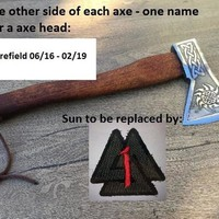 Custom listing for Brynan: 1 axe with engraved image and text on the axe head