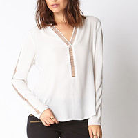 LOVE 21 Cutting Edge Woven Blouse Ivory Small