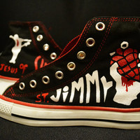 Hand Painted American Idiot Green Day Converse shoes.