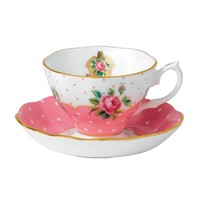 Royal Albert New Country Roses Vintage Teacup and Saucer, White