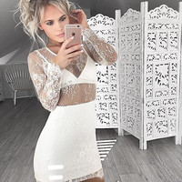 White V Neck Homecoming Dress, Long Sleeve Close-Fitting Short Homecoming Dress