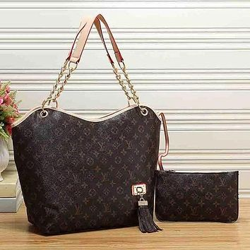 LV Louis Vuitton Women Fashion Leather Satchel Shoulder Bag Handbag Two-Piece Set