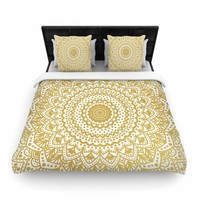 "Nika Martinez ""Gold Mandala"" Gold White Illustration Woven Duvet Cover"