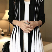 Color Block Vertical Stripe Cardigan