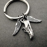 I Run With Wings On The Soles Of My Shoes Key Chain/Bag Tag - 2 Wing Charms and Running Shoe Charm - Stainless Steel Round Key Ring